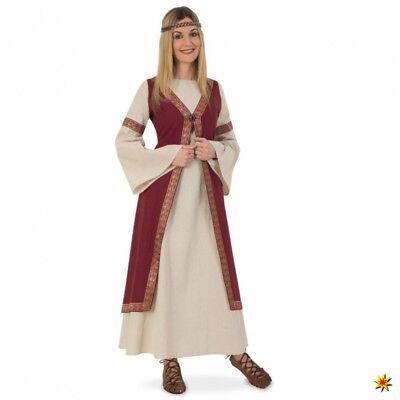 Mittelalter Kostüm Hofdame M- XL Kleid beige/weinrot LARP Kleidung Burgfräulein ()