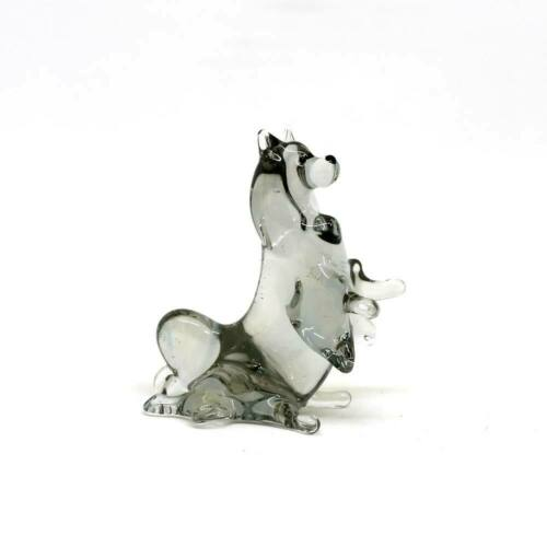 Middle blown glass figurine Dog - Spitz sitting Russian Murano #160-2