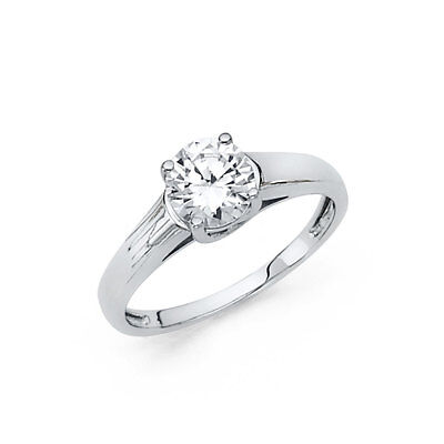1 CT Diamond Engagement Ring 14k Solid White Gold Solitaire Cathedral Setting