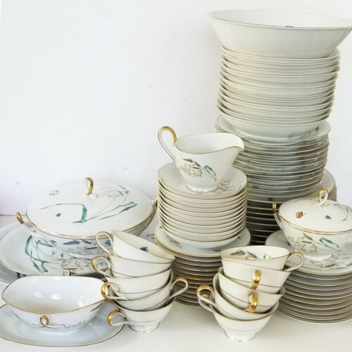 H&C HEINRICH lot of 89 pieces SOMMER 9 7pc PLACE SETTINGS + extras + serving pcs