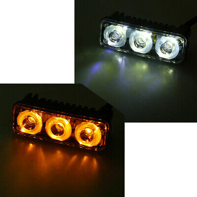 2pcs LED Car Front Grill DRL Day Light White&Yellow 2 Colors Turn Indicator Lamp