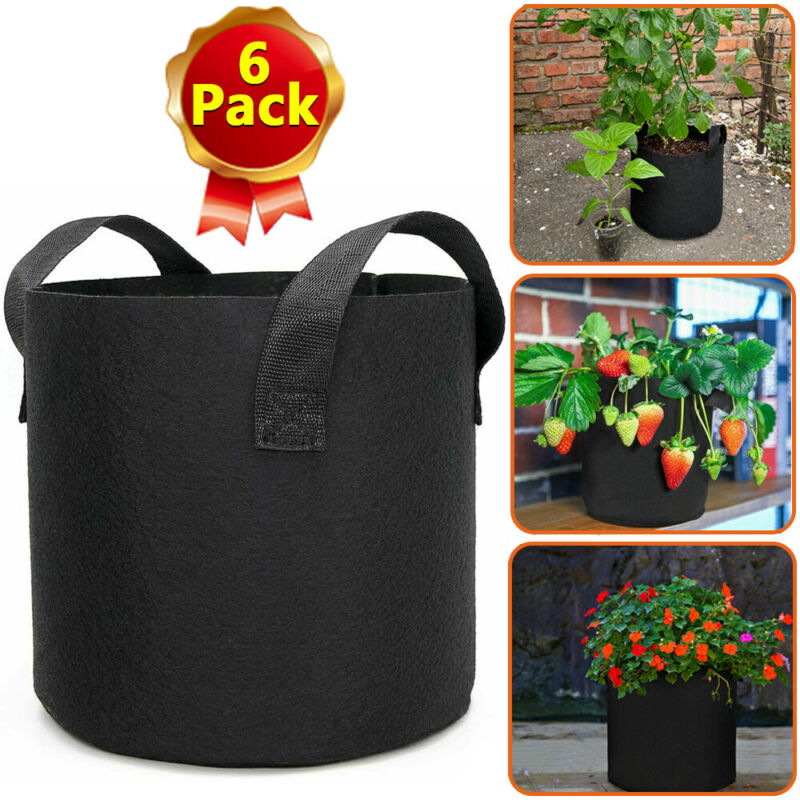 6 Pk Grow Bags Plant Fabric Pot Nursery Soil Bag with Handles Thickened Nonwoven
