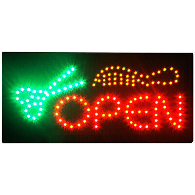Animated Motion Led Open Business Sign Salon Barbershop Hair Cut Wonoff Switch