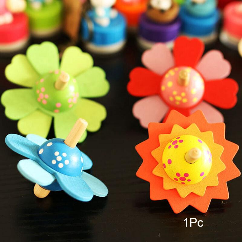 Flower Rotate Relief Stress Desktop Classic Fidget Spinner Wooden Spinning Top