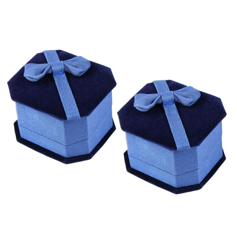 Two Deluxe Blue Velvet - Satin Bow Ring Jewelry Display Presentation Gift Boxes