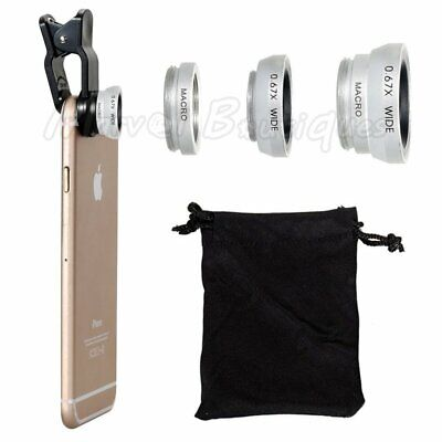 Wide Angle Lens Kit - Wide Angle Fish Eye Macro Clip Cell Phone Camera Lens Kit for iPhone 6/7/8/XR