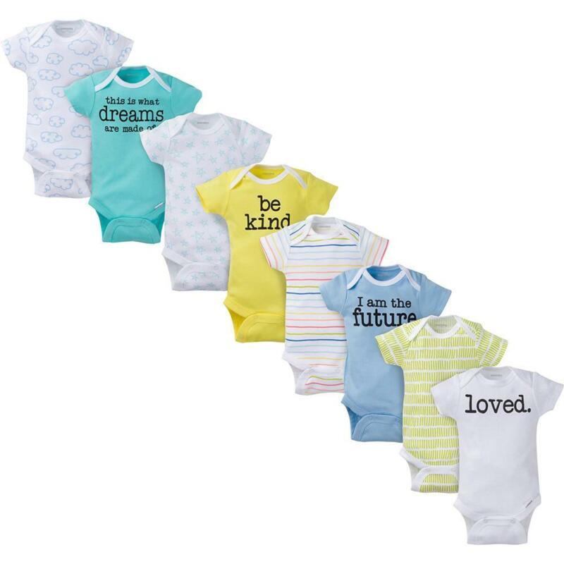 8-Pack Onesies Brand Baby Boy or Girl Unisex Short Sleeve Bodysuits