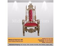 NEW Lion King Queen Wedding Throne Chair - Gold & Red (150cm) - Luxury Asian French Italian Antique