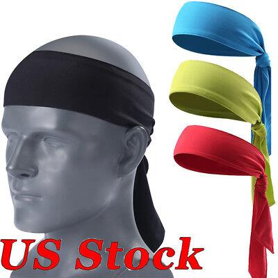 Men Women Sports Sweat Headband Pirate HairBand Free Bandage Tennis Running US (Pirate Headband)