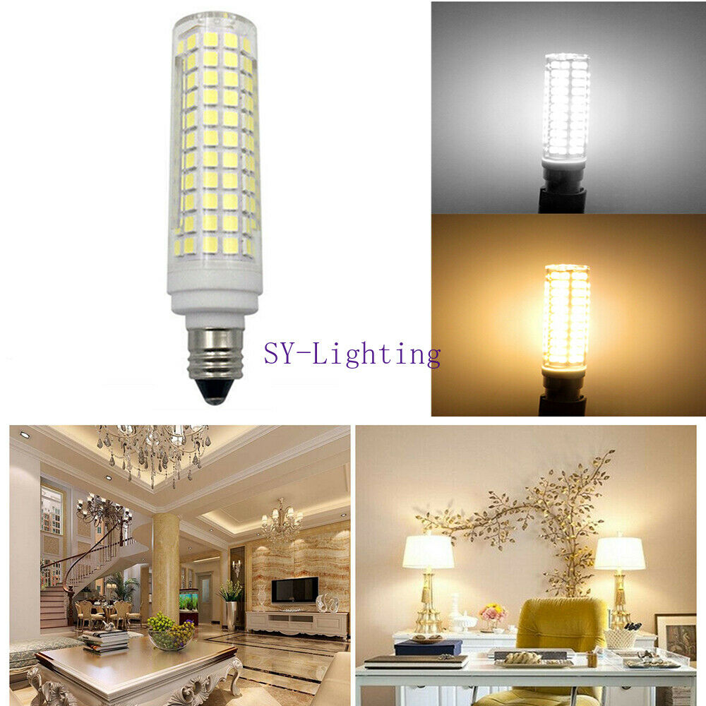 3pcs E12 Mini Base 10W 136 LED Bulbs Ceramics Lamp Light White 110V Ultra bright