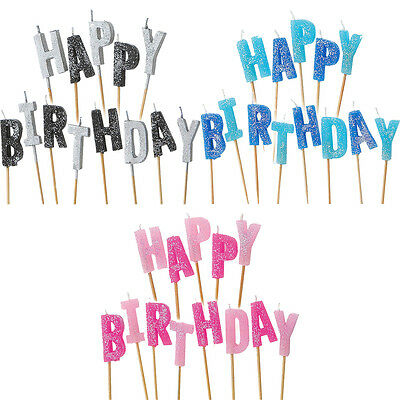 Happy Birthday Sparkle Blue Pink Black Party Glitter Pick Cake Candle - Sparkle Birthday