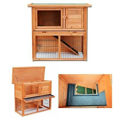 "36"" Wooden Rabbit Hutch Chicken Coop Wood Hen House Poultry Pet Cage 2 Tiers"