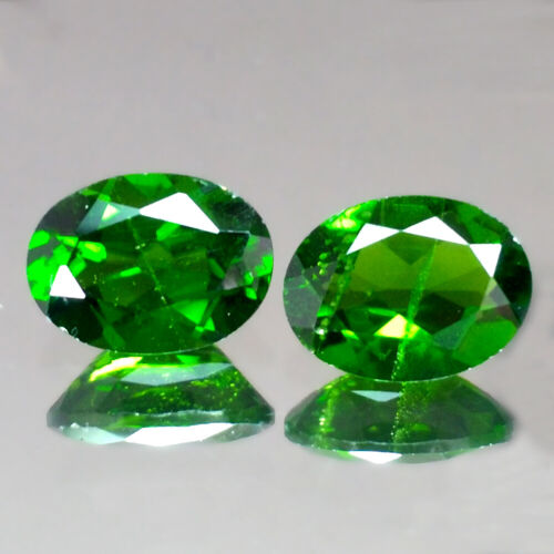 2.50cts 8x6mm Oval Pair Natural Chrome Green Diopside Loose Genuine Gemstones