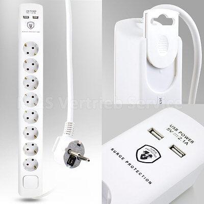 8 fach Steckdosenleiste mit USB 8er Steckerleiste Mehrfachsteckdose Steckdose