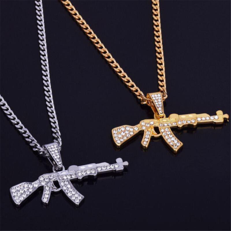 Men's Punk Out Iced LAB DIAMOND Hip Hop AK47 Gun Chain Cuban