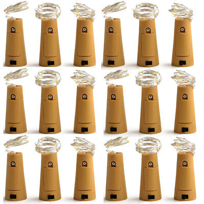 (10Pcs Wine Bottle Cork Lights Copper Night Party Led Light Strips Rope Lamp  US)