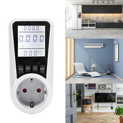 Digital Lcd Wattmeter Ac Power Socket Meter Monitor Kilowatt Wattage Voltage Amp