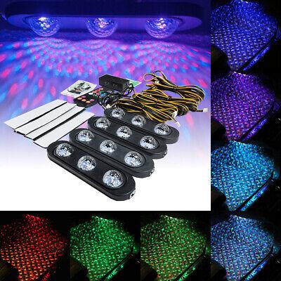 4PCS Car RGB USB LED Light Strip Interior Atmosphere Neon Lamp Remote Control