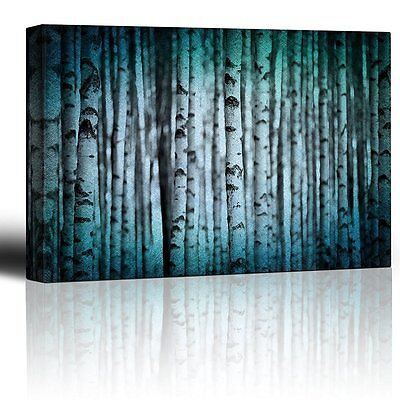 Canvas Wall Art Prints - Trunks of Birch Trees in Black and White - 24
