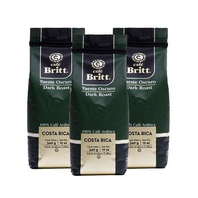 Café Britt-Costa Rican Dark Roast Coffee(12 oz) (3-Pack)GROUND COFFEE,COSTA RICA Cafe Costa Rica