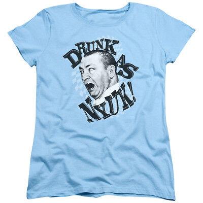 Three Stooges Womens T-Shirt Drunk as NYUK Light Blue Tee Drunk Womens Light T-shirt