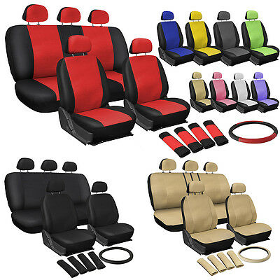 OxGord Faux Leather Car Seat Covers 17pc Set w/Steering Wheel/Belt Pad/Head (Mercury Milan Car)