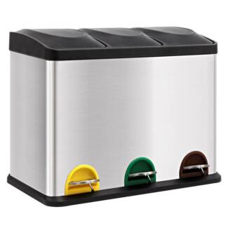 Kitchen Rubbish Bin 3 Compartments Stainless Steel Foot Pedal Kings Beach Caloundra Area Preview