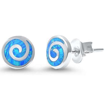 Round Blue Swirl - Round Blue Opal Swirl .925 Sterling Silver Earrings