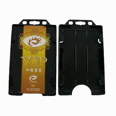 Hardside Business Cases (1X Polished Vertical Hard Plastic Business ID Card Badge Holder Double Side Case)