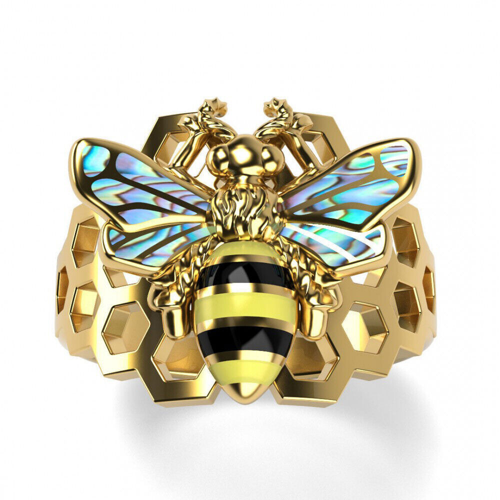 Fashion Bee 18k Yellow Gold Plated,Silver Rings for Women Je
