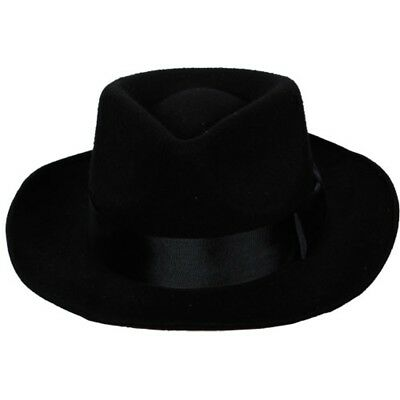 Gangster Al Capone Hut Schwarz Erwachsene Mafia Moll Kostüm