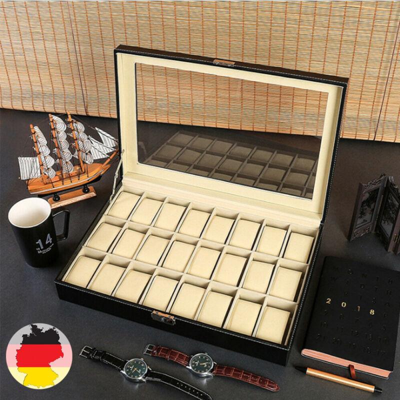 Leder Uhrenbox Uhrenkoffer für 24 Uhren Uhrentruhe Uhrenkasten Uhrenschatulle DE