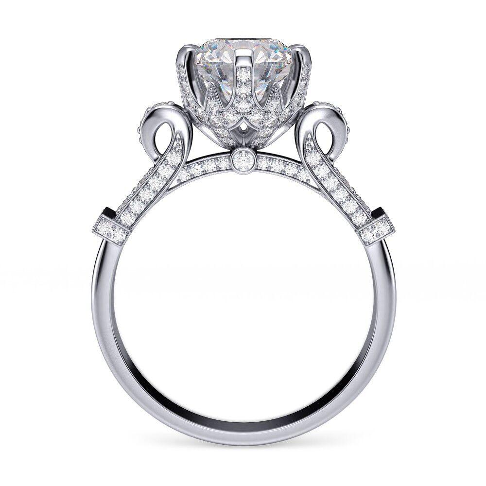 1.60 ct Round Cut Edwardian Vintage Pave Diamond Engagement Ring GIA Certified  1