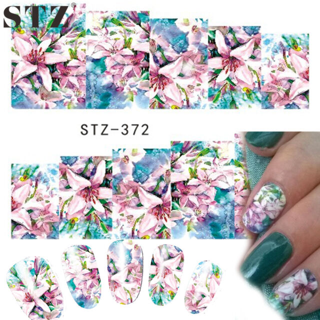 Nail Art Water Decals Stickers Transfers Pink Blue Flowers Lily GEL ...