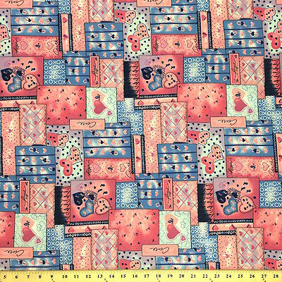 Quilt Pink Print Fabric Cotton Polyester Broadcloth By The Yard 60