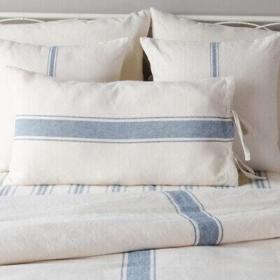 Country Farmhouse Colonial Blue And Cream Grain Sack Stripe Lumbar Pillow Cover