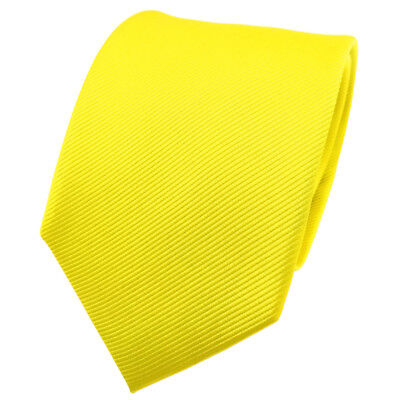 TigerTie Seidenkrawatte gelb leuchtgelb neongelb einfarbig Uni Rips - Krawatte