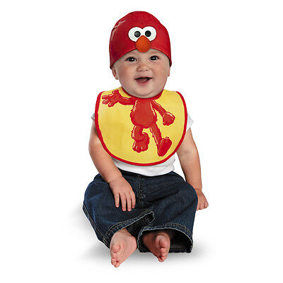 Sesame Street Elmo Bib and Hat Infant Costume, 0-6 (Elmo Infant Costume)