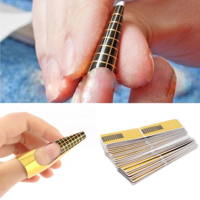 100x French DIY Nail Art Tips Extension Forms Guide Stickers Acrylic ...