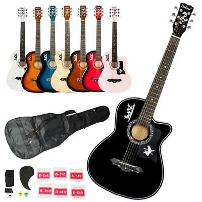 New 7 Color DK-38C Basswood Acoustic Guitar w/ Bag String Pi