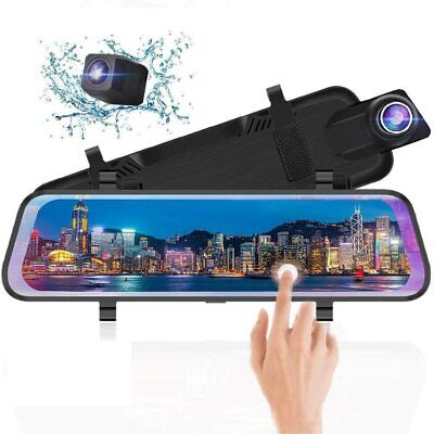 10 Inch Mirror Dash Cam Full Touch Screen, Poaeaon Backup Camera Stream Media, 1