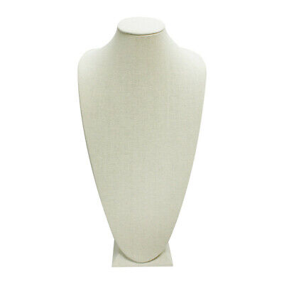 """8"""" x 17"""" Tall Linen Covered 3D Necklace Jewelry Display Bust Stand Freestanding"""