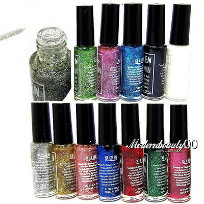 12Pcs Glitter Color Nail Art Striping Brush Varnish Polish Painting Drawing Set