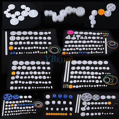 Plastic Gears Kits Pulley Spindle Shaft Worm Bevel Gear Sleeve Diy For Toy Robot