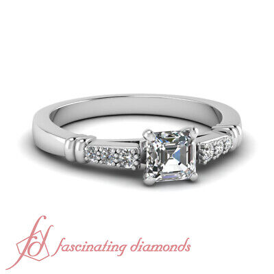 .60 Ct Asscher Cut Cathedral Style Diamond Ring For Her With Round Accents GIA