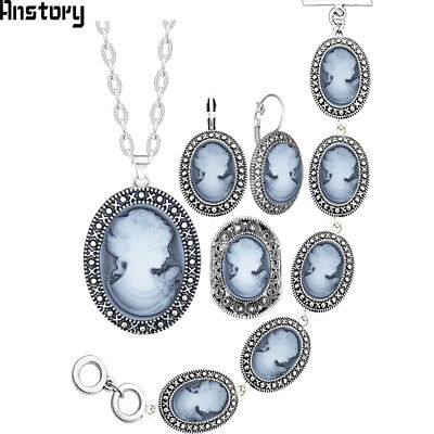 Lady Queen Cameo Antique Silver Plated Necklace Earrings Bracelet Jewelry Set