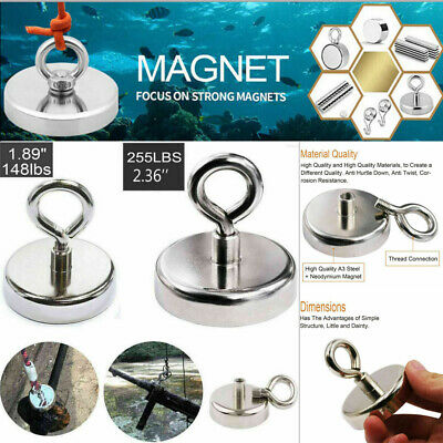 Fishing Magnet 255lb Super Strong Neodymium Round Strong Powerful Treasure Hunt