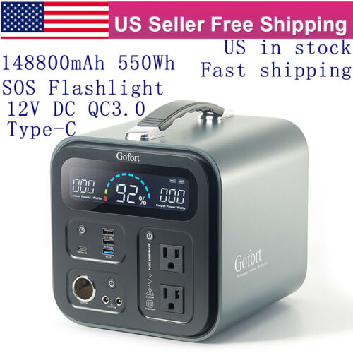 550Wh Solar Generator Power Station Backup Battery Pack CPAP 12V DC QC3.0 Type-C