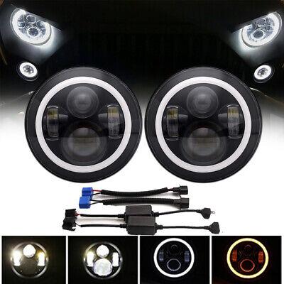For JEEP Wrangler JK TJ LJ Halo 7'' LED Headlights DRL Lights Combo KIT 2PCS