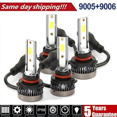 4x 9005 9006 CREE LED Headlight Combo Kit Bulbs 6000K White Hi-Lo Beam Lamp Powe